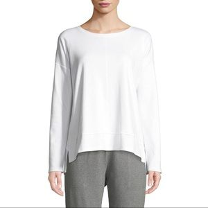 Eileen Fisher White Organic Cotton Long Sleeve Top